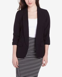 This Sleeve Blazer is made of polyester, rayon and elastane. It has a classic notched collar, flap pockets and a flattering fit that highlights the silhouette. Pair this with a solid top and a printed skirt for a polish look. Casual Blazer Women, Blazers For Women, Jackets For Women, Polished Look, Blazer Jacket, Spring Fashion, My Style, Sleeves, Sweaters