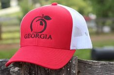 f35aeb896fe Peach State Pride  Georgia Mesh Back  Trucker Hat- Red and White