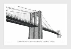 Designer Cameron Moll's illustration of the historic Brooklyn Bridge makes use of vintage typefaces.  #graphicdesign #typography #print