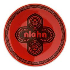 Disney Adventureland ''Aloha'' Plate - 7'' - Red | Disney StoreAdventureland ''Aloha'' Plate - 7'' - Red - Nibble happy hours away with appetizers and desserts served on this bright Adventureland ''Aloha'' Plate featuring a vintage menehune design inspired by Disney's Polynesian Village Hotel.