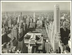 Wurts Brothers. General View - Manhattan - Aerial view - 42nd Street - Fifth Avenue - looking west [New York Public Library - Bryant Park -Paramount Building - ...] (1931). NYPL Digital Gallery.