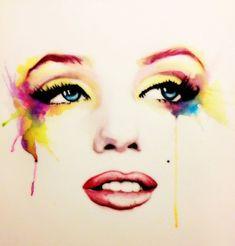 Marilyn Monroe pin up girl. Marilyn Monroe Dibujo, Marilyn Monroe Artwork, Arte Pop, Watercolor Face, Watercolor Effects, Norma Jeane, Up Girl, Girl Face, Airbrush
