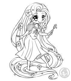 Disney Rapunzel Chibi Lineart By Yampuff