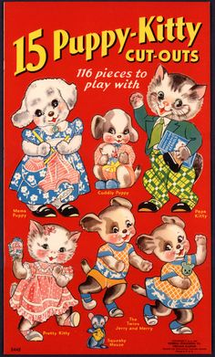 "Merrill 1938 ""15 Puppy Kitty CUT Outs"", ill. Florence Salter 