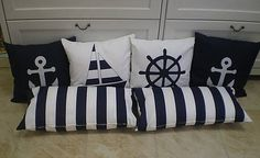 Trendy Hairstyles For Women Nautical Theme Bedrooms, Nautical Bedding Sets, Nautical Baby Nursery, Nautical Quilt, Bedroom Themes, Sofa Pillows, Cushions, Designer Bed Sheets, Bed Linen Design