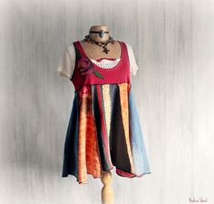 Colorful Boho Top Lagenlook Tunic Women's by BrokenGhostClothing