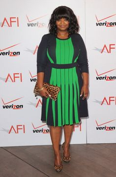 CRESTA BLEDSOE FINE JEWELRY: OCTAVIA SPENCER; American Film Institute Awards Luncheon; 18K black diamond, turquoise and chrysoprase stacking cuffs