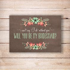 Wedding bridesmaid invite -Will you be my bridesmaid? - Bridesmaid rustic invitation