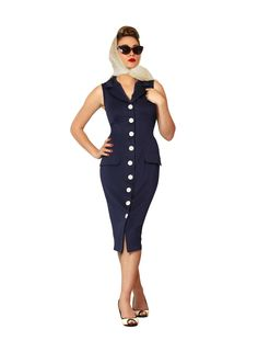 Here's a lovely bit of chic. You're going to feel like gracing the… 50s Dresses, Dresses For Work, Pin Up Style, My Style, 50s Vintage, Vintage Style, Button Dress, Female Form, Pencil Dress