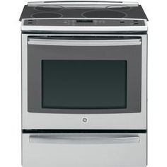 GE Profile 30-in Smooth Surface 5-Element 5.3-cu ft Self-Cleaning Slide-In Convection Electric Range (Stainless Steel) Model# PHS920SFSS