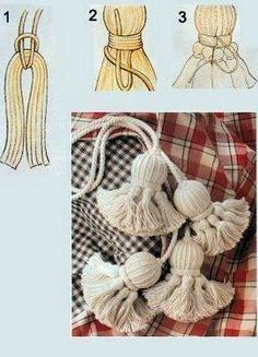 badulake de ana: BORLAS - how to make tassles Yarn Crafts, Diy And Crafts, Arts And Crafts, Craft Projects, Sewing Projects, Diy Tassel, Tassel Jewelry, Macrame Knots, Handicraft