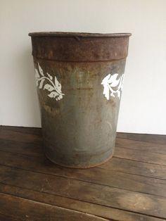 Stenciled vintage sap bucket #3