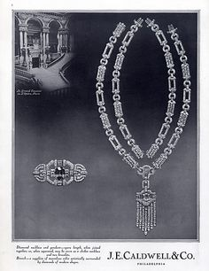 J.E. Caldwell  & Co (Jewels) 1929 Diamond Necklace, Brooch Sapphire