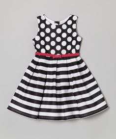 Another great find on Youngland Black & White Polka Dot Stripe Dress - Toddler & Girls by Youngland Toddler Girl Style, Toddler Girl Dresses, Toddler Girls, Kids Frocks, Frocks For Girls, Little Girl Fashion, Kids Fashion, Little Girl Dresses, Girls Dresses