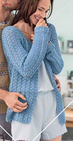 Crochet Coat, Crochet Clothes, Kimono Cardigan, Long Cardigan, Moda Crochet, Easy Stitch, Rubrics, Knitting, Women