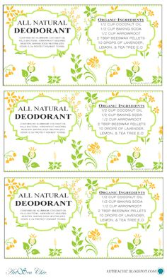 ARTSEA CHIC Printables | FREE 2.5oz All Natural Rub On Deodorant Labels {click through for link to download}