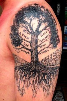 Upper Arm Family Tree Tattoo