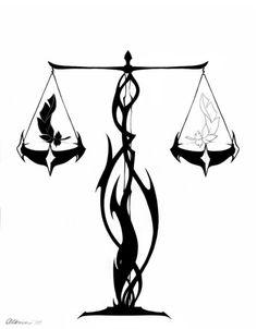 Waage-stilisiertes Tattoo-Sternzeichen Designs