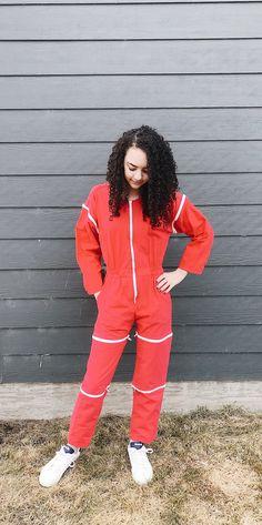 Vintage Jumpsuit, Red Jumpsuit, Vintage Wear, Boho Dress, Cotton Canvas, Denim Skirt, Slim, Etsy Shop, Zipper