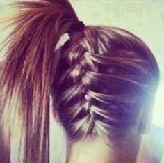 French braid under ponytail