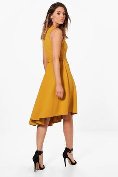 Poppy Asymmetric Formal Midi Skater Dress | Boohoo
