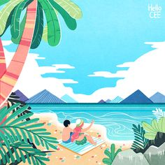 산그림 작가의 개인 갤러리 입니다. Beach Illustration, Landscape Illustration, Graphic Illustration, Abstract Drawings, Colorful Drawings, Art Drawings, Caribbean Art, Tropical Art, Amazing Drawings