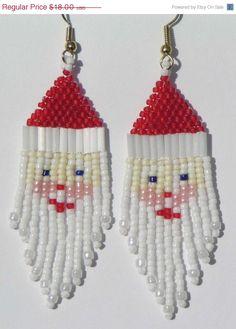 NA VENDA Papai Noel frisada Brincos - Brincos de Natal - feriado - Santa frisado brincos