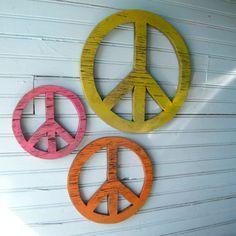 Wooden Peace Symbols Give Peace a Chance Set of Three. $79.00, via Etsy.