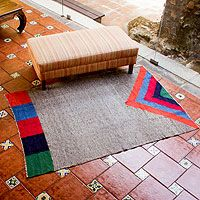 Wool rug, 'Volcano in Color'