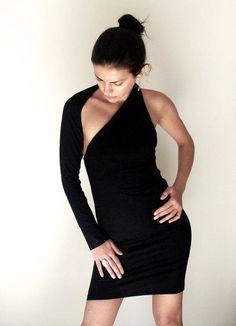 Party Dress / Unique Black One Shoulder Long by marcellamoda