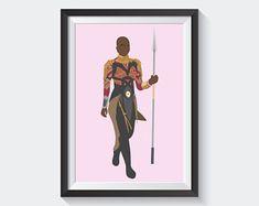Okoye Art Print, Wakanda Forever Art Poster, Wakanda Army Print, Black Panther Movie Poster, Danai Gurira Art Poster