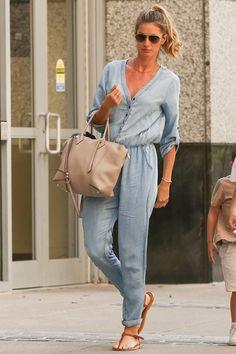 Gisele is Effortlessly Stylish in a Denim Jumpsuit