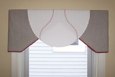 """Baseball Valance - Kids Valances - Prio Valances by Curtains, Etc. fits windows from 30-50"""" wide.  To order click the link below: https://www.etsy.com/listing/189282148/custom-childrens-baseball-valance-order?ref=shop_home_active_7"""