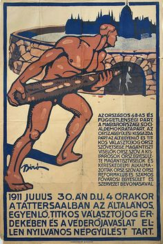 mihaly biro   demonstration for equal and common suffrage 1911 hungarian propaganda poster