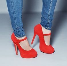 Red mary jane pumps