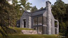 Modern Bungalow Exterior, Modern Farmhouse Exterior, New Modern House, Modern Cottage, Cottage Design, House Design, Chalet Design, Farmhouse Architecture, Lake House Plans
