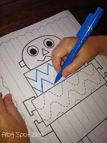 Free Robot Worksheet - Handwriting Practice and a Fine Motor Skills Preschool Writing, Preschool At Home, Preschool Kindergarten, Preschool Learning, Writing Activities, Early Learning, Fun Learning, Preschool Activities, Teaching Resources
