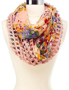 Crochet & Floral Print Infinity Scarf #CharlotteRusse #CRfashionista #scarf