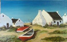 Image result for paintings of fishermen's cottages Fishermans Cottage, Cottages, Boats, Cape, Paintings, Google Search, Mantle, Cabins, Cabo