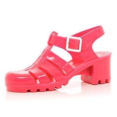 Sandales en plastique JuJu rose à talon carré - Sandales - Chaussures / bottes - femme