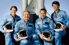 NASA dropped pressurized flightsuits suits for space shuttle crews after four test flights. When Vance Brand, Bob Overmyer, Joe Allen and Bill Lenoir blasted off aboard Columbia on Nov. 11, 1982, for the fifth shuttle mission they wore just blue flights suits with oxygen helmets.