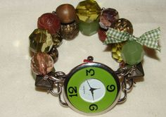 Green and Brown Country Chic Beaded Watch Chunky by BeadsnTime, $30.00