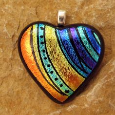 Fused Glass Heart Pendant Dichroic Fused Glass Hand by GlassCat, --- Would make a pretty painted rock heart