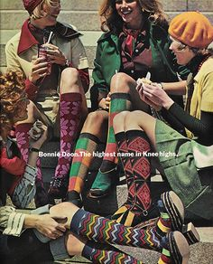 justseventeen:  August 1973. 'Bonnie Doon. The highest name in Knee highs.'  Socks and sweaters go together like birds of a feather!
