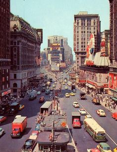 New York, Times Square 1955~Look at all the room for cars! lol