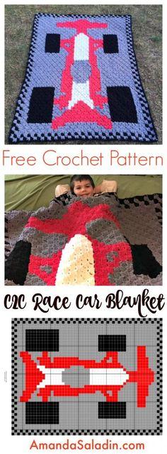 Free crochet pattern: C2C (corner-to-corner) Race Car Blanket by Amanda Saladin