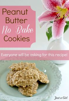 Peanut Butter No Bake Cookies - Just a Girl