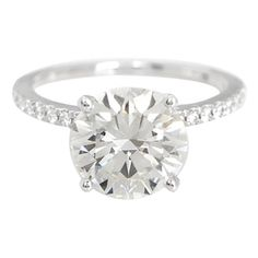 Pre-Owned GIA Certified 3.09 ct. Round Brilliant Cut Diamond and 18k... (£29,435) ❤ liked on Polyvore featuring jewelry, rings, silver, 18k white gold ring, wedding rings, multi color diamond ring, preowned wedding rings and 18k diamond ring