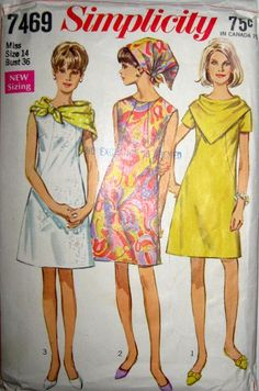 Simplicity 7469; ©1967; Misses' Dress and Two Scarves -- The collarless dress with front seam interest has high round neckline and back zipper. V. 1 has short set-in sleeves. V 2 & 3 are sleeveless. A triangular scarf is worn with all views around neck or on head. The smaller scarf V. 1 & 2 fastens with loop and button when worn around the neck. The larger scarf V. 3 is made of silk-like fabrics only.