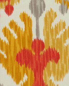 P. Kaufmann Indoor/Outdoor Fabric,  Journey, Tangerine - by the yard